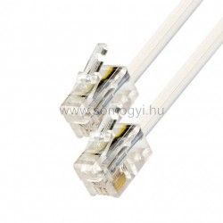 Telefoncsatlakozó kábel, 6p4c, dugó-dugó, 20m
