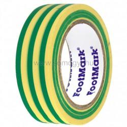 Szigetelőszalag, 10 m, zöld/sárga