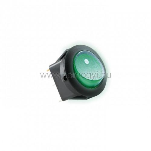 Világítós billenőkapcsoló, 12v, 1ák, zöld