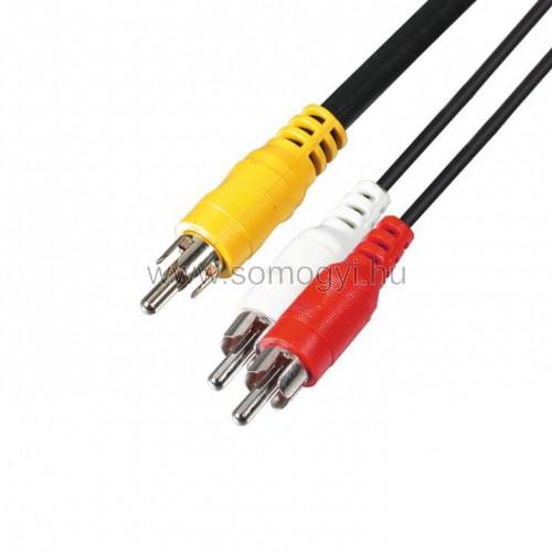 Audió kábel, 3 rca dugó-3 rca dugó, 1,5 m
