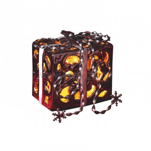 Led-es kerámia ajándékdoboz, ezüst, 3v