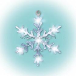 Led-es ablakdísz, akril, hókristály, 30cm, 4,5v