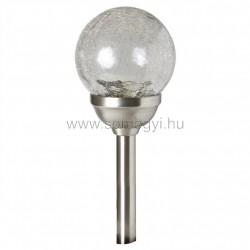 Napelemes kerti lámpa, fém, színváltós, üveggömb