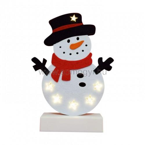 Led-es asztali dekoráció, filc, hóember, 4,5v