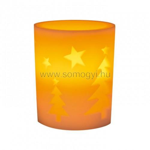 Led-es gyertya dekoráció, fenyő minta, 4,5v