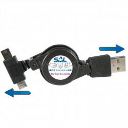 Töltőkábel, mini-micro usb, 0,70m