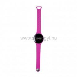 Fitness karóra, pink, kerek