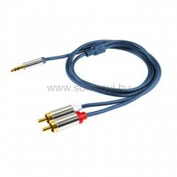Audió kábel, 3,5 mm sztereó fém dugó-2 rca fém dugó, 1 m