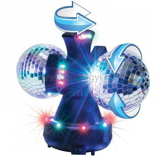 Led-es diszkó lámpa 2 x 10 cm tükörgömbbel, 230v