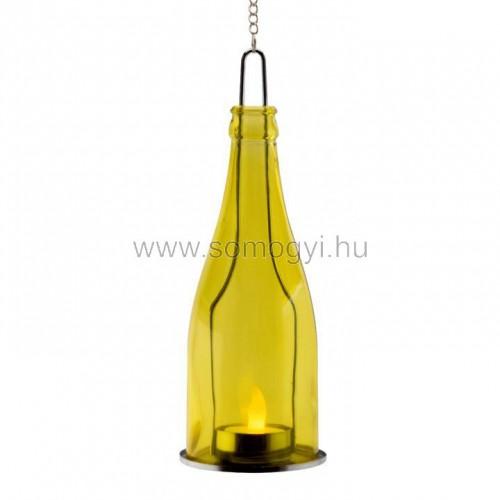 Dekorációs üveg led mécsessel, sárga