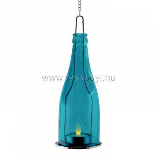 Dekorációs üveg led mécsessel, kék
