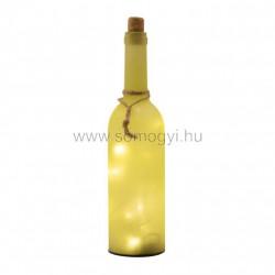 Dekorációs üveg led füzérrel, sárga