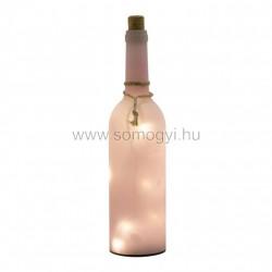 Dekorációs üveg led füzérrel, rózsaszín
