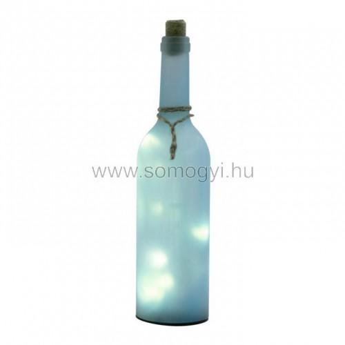 Dekorációs üveg led füzérrel, kék
