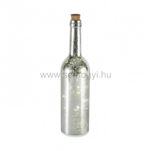 Led-es üvegpalack dekoráció, ezüst
