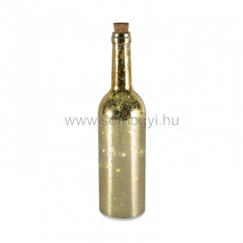 Led-es üvegpalack dekoráció, arany