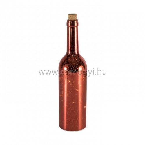 Led-es üvegpalack dekoráció, piros