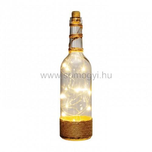 Dekorációs üveg led füzérrel, átlátszó