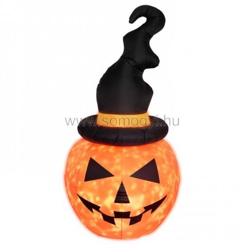 Felfújható halloween tök, kalappal